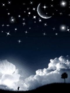 Обои в чёрно-серых тонах с изображением ночного неба.